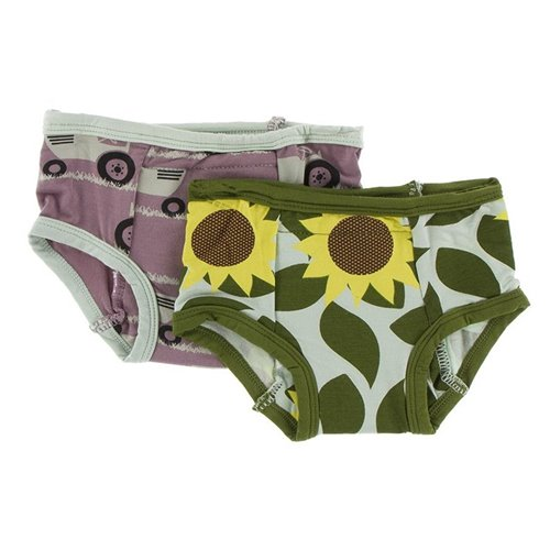 2 culottes d'entraînement en bambou 2T-3T Aloe Sunflower Raisin Tractor and Grass