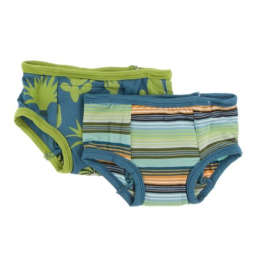 2 culottes d'entraînement en bambou 2T-3T Glass Stripe and seagrass cactus