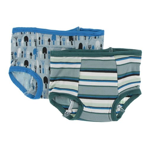 2 culottes d'entraînement en bambou 2T-3T jade garden tools and multi agriculture stripes