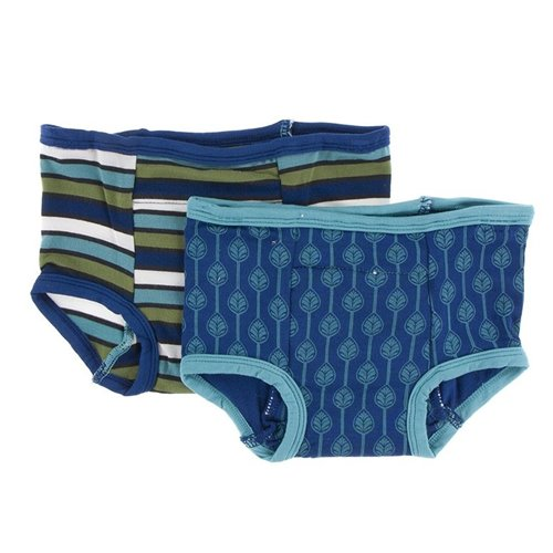 2 culottes d'entraînement en bambou 3T-4T Grasshopper Stripe & Navy Leaf Lattice