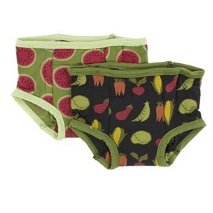 2 culottes d'entraînement en bambou 3T-4T Grasshopper Watermelon and Zebra Garden Veggies