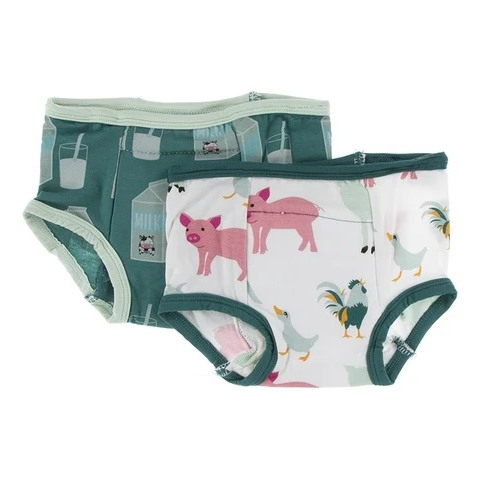 2 culottes d'entraînement en bambou 3T-4T Ivy milk and natural farm animals