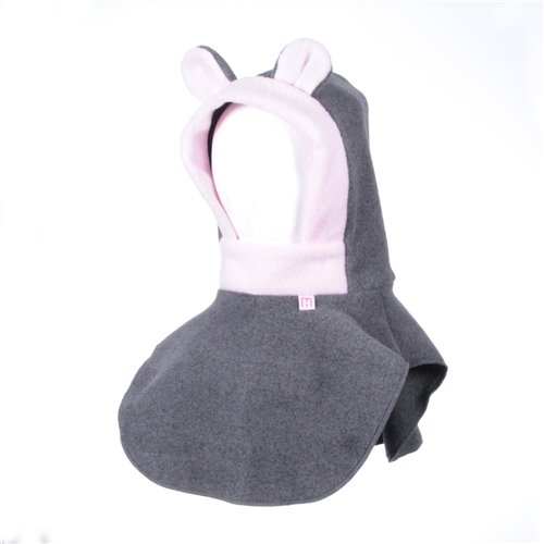 Tuque 2 en 1 - Charbon / rose 3-5 ans Ourson