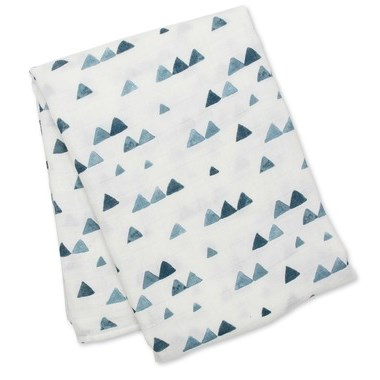 Couverture 120 cm x 120 cm Bambou - Triangles marine