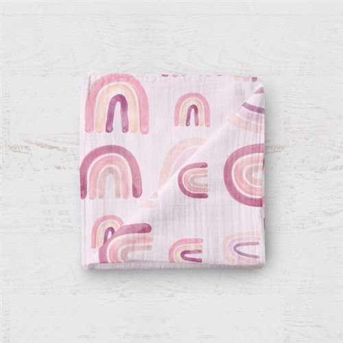 Couverture Mousseline - Arc-en-ciel rose 48x48
