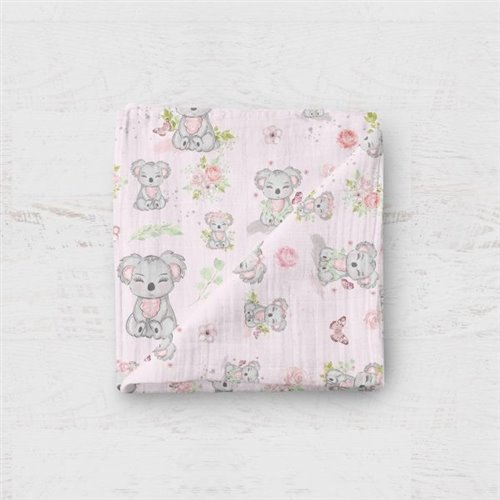 Couverture Mousseline - Koala Rose 48x48