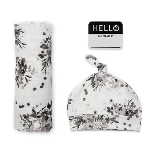 Couverture et chapeau noué Hello World - Black Floral