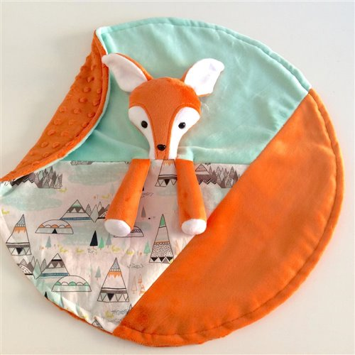 Doudou Sécurisante Renard Orange, aqua/Tipis, verso orange