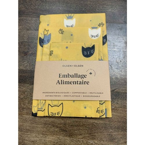 Emballage alimentaire trio - Chat jaune