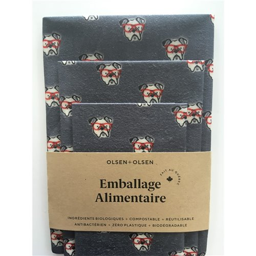 Emballage alimentaire trio - Chien Gris