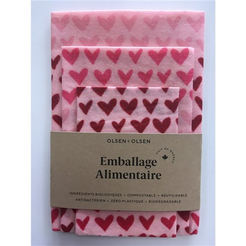 Emballage alimentaire trio - Coeurs roses