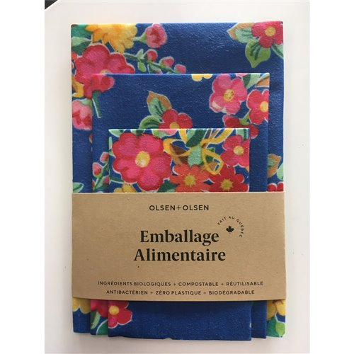 Emballage alimentaire trio - Fleurs roses fond bleu