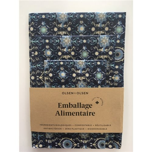 Emballage alimentaire trio - Floral bleu