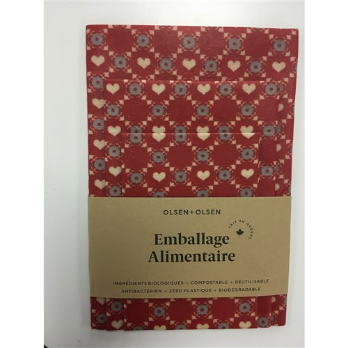 Emballage alimentaire trio - Petits coeurs rouge