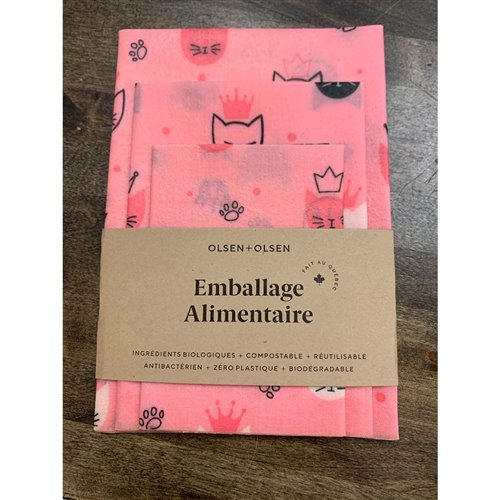 Emballage alimentaire trio chat rose
