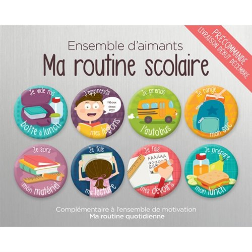 Ensemble d'aimants Ma Routine Scolaire