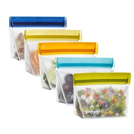Ensemble de 5 sacs fonds plats pour aliments (1T) - Couleurs assortis