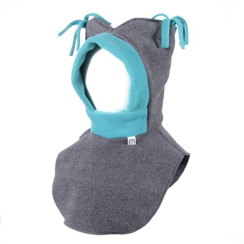 Tuque 2 en 1 - Charbon / Turquoise Chat sauvage 0-2 ans