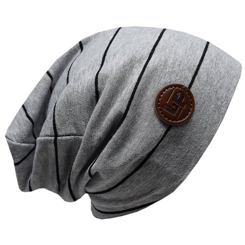 Tuque de Coton Boston - Gris lignée Noir - Junior