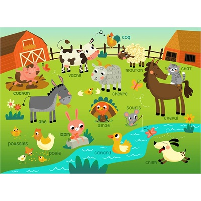 Couverture Minky Apprentissage - Ferme 30 x 40