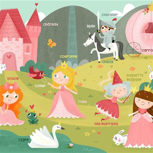 Couverture Minky Apprentissage - Les Princesses 30 x 40