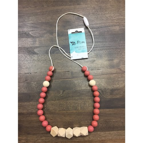 Collier de dentition - Prisme Bois - Rose Antique