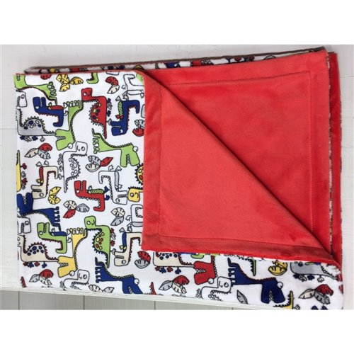 Couverture Unie - Dino fond blanc / Rouge