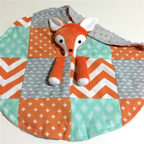 Doudou Sécurisante Renard Orange, gris, et aqua