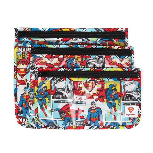 3 pochettes translucides de transport - Superman