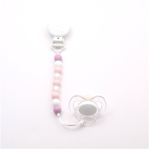 Attache-Suce Mini - Rose pastel, perle, blanc et lavande