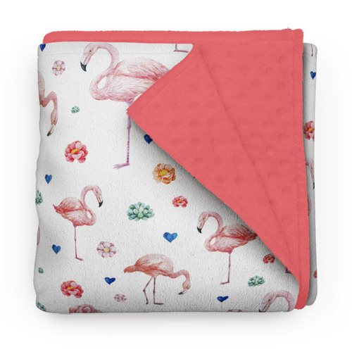 Couverture Minky Flamants roses 30 x 40