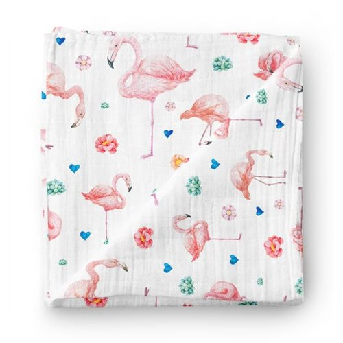 Couverture Mousseline de bambou - Flamants roses 47 x 47