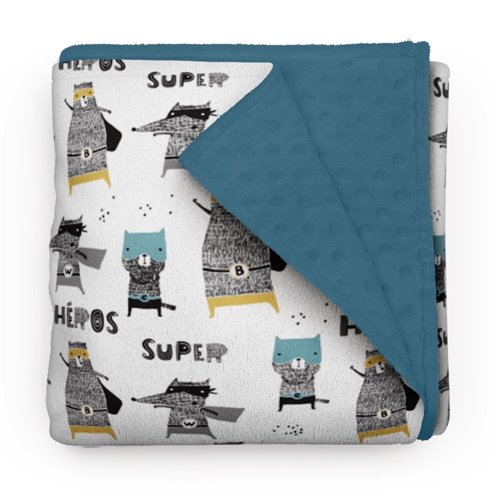 Couverture Minky Super-Animaux 30 x 40