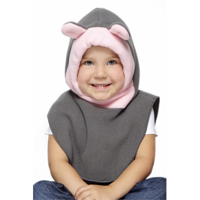 Tuque 2 en 1 - Gris / rose 0-2 ans Ourson