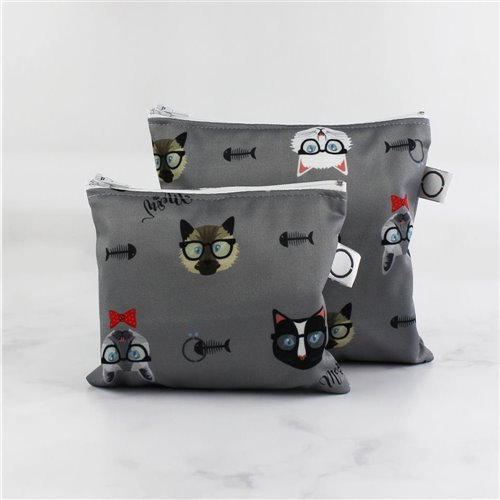 Sac imperméable sandwich 7 x 6.5'' - Chat Hipster